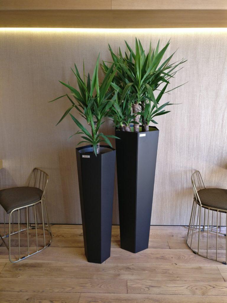 cration et fabrication de pot de fleurs hexagonal pour lhtel mercure de dijon