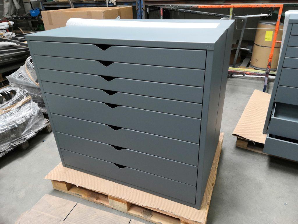 Commode servante roulette meuble tiroir glissière bille france industriel rangement solide gris acier